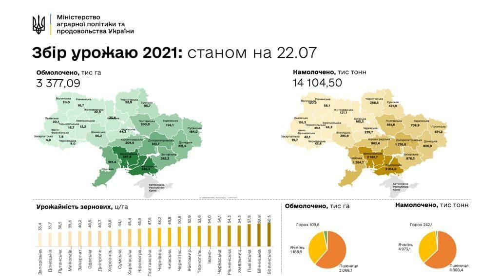 Урожай-2021: Херсонщина и Николаевщина - лидеры по сбору зерновых (ИНФОГРАФИКА) 1
