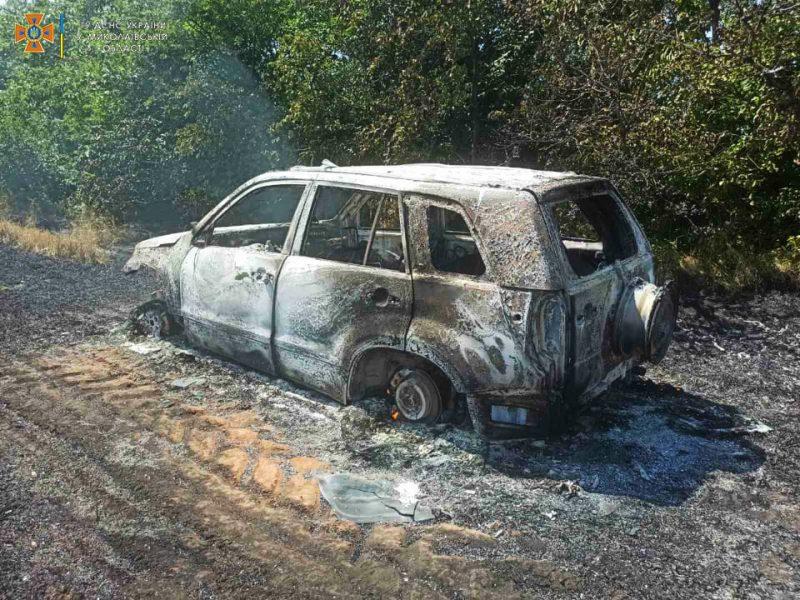 Под Новым Бугом на трассе вспыхнула «Таврия», огонь перекинулся на пшеничное поле и Suzuki (ФОТО)