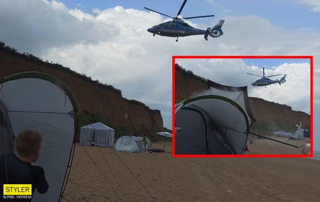 Про сытых и голодных. Под Одессой вертолет снес палаточный городок отдыхающих – так на море летает местный фармацевт (ВИДЕО)