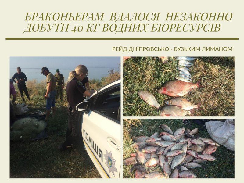 На Днепро-Бугском лимане Николаевский рыбоохранный патруль поймал браконьеров с 40 кг рыбы (ФОТО)