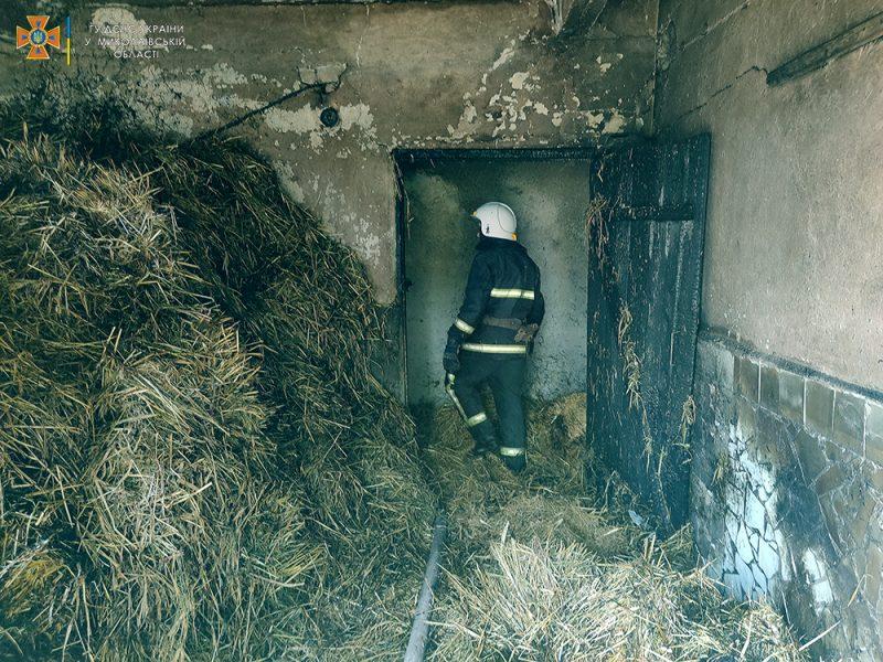 Обидно: на Николаевщине сгорело 3 тонны заготовленной соломы