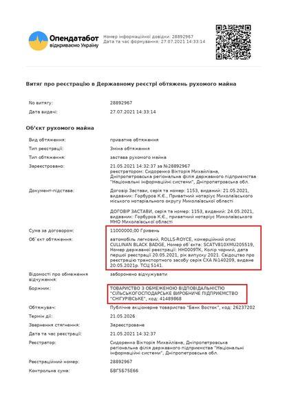 Агрофирма николаевского депутата Корымшкина купила Rolls-Royce за $650 тысяч (ДОКУМЕНТ) 5