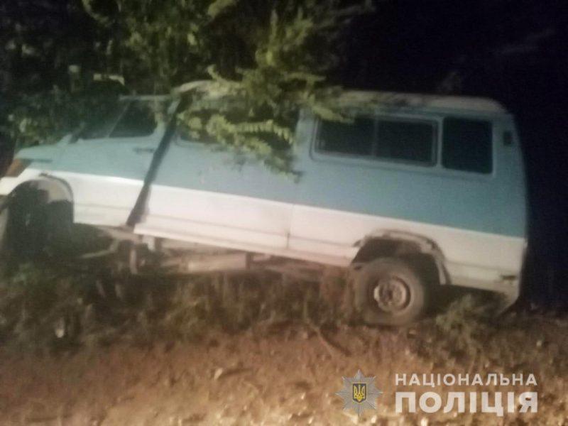 На Николаевщине пьяный водитель микроавтобуса врезался в дерево — пассажир погиб, еще 2 в больнице (ФОТО)
