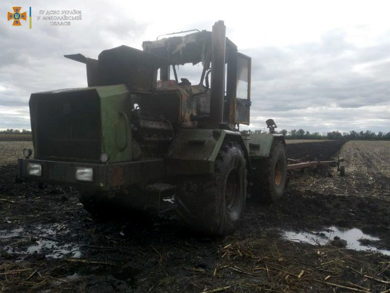 В Баштанском районе в поле сгорел трактор (ФОТО)