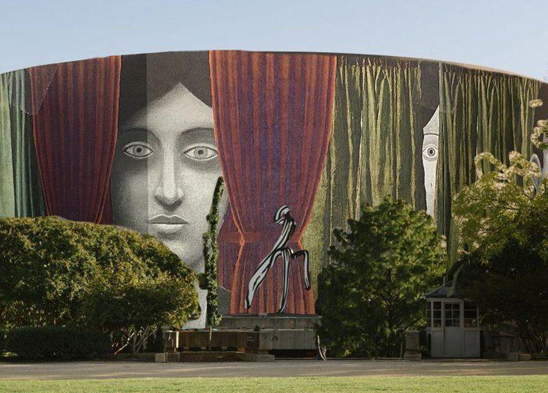Ремонт искусству не помеха: четырехэтажное здание Музея Хиршхорна в Вашингтоне обернут специально созданной картиной