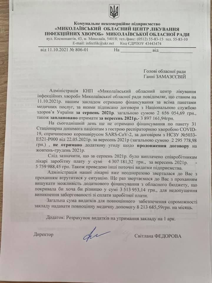 К январю Николаевская инфекционная больница обанкротится, - директор Федорова (ДОКУМЕНТ) 1